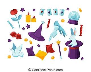 előadás, eszközök, kártya, dove., tető, -, elszigetelt, felszerelés, fehér, nyuszi, lakás, ülés, batyu, kalap, háttér, karikatúra, színezett, varázslatos, illustration., szivárog, előadó, varázslatos, vektor, játék