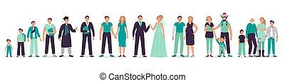 előad, feláll, ábra, felnőtt, kölyök, fiatal, különböző, hím, család, set., diák, vektor, fiú, ember, man., tizenéves, személy, évek, bábu, family., elindítás, növekedés, betű, termeszt öreg, pasas, élet