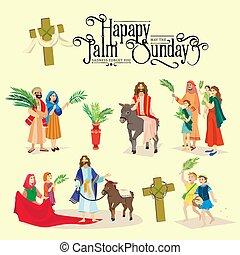 előbb, boldog, jeruzsálem, köszöntések, vasárnap, ünneplés, emberek, pálma, ábra, vektor, vallás, jézus, húsvét, gördülni, belépés, szamár, ünnep, gyerekek, nő, pálma kilépő, ember, krisztus