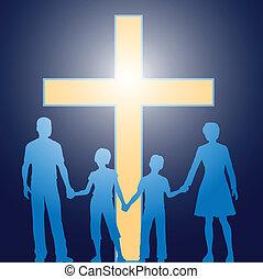 előbb, keresztény, család, álló, fénylő, kereszt