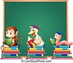 előjegyez, állatok, bizottság, sablon, felolvasás