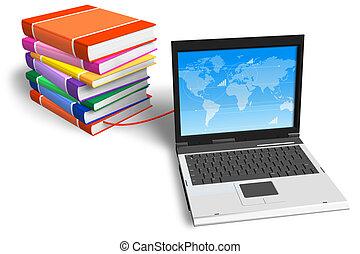 előjegyez, összekapcsolt, laptop, kazal