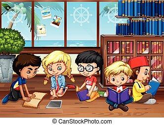előjegyez, felolvasás, könyvtár, gyerekek