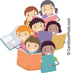 előjegyez, gyerekek, stickman, felolvasás, ábra