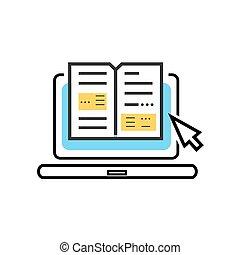 előjegyez, ikon, online library, digitális