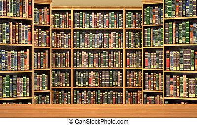 előjegyez, könyvespolc, öreg, háttér, library., tele, asztal