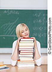 előjegyez, kazalba rakott, diák, női, alvás