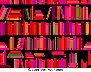 előjegyez, motívum, seamless, ábra, vektor, könyvtár, bookshelf.