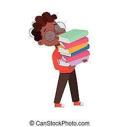 előjegyez, oktatás, fogalom, szállítás, szemüveg, tudás, karikatúra, vektor, mód, ábra, afrikai, kazal, amerikai, csinos, fiú, intelligens