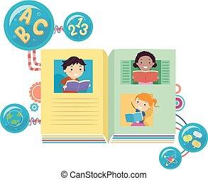 előjegyez, stickman, felolvasás, ábra, gyerekek