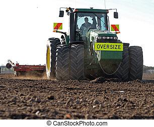 előkészítő, traktor, nagy, talaj
