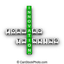 előmozdít, gondolkodó, újítás