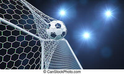 előrehajol, delight., goal., kék, 3, háló, repült, ábra, light., futball nettó, gól, labda, háttér, cikázik, háttér., pillanat, ellen