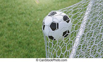 előrehajol, goal., 3, háló, ábra, repült, futball nettó, gól, fű, grass., labda, háttér, háttér., pillanat, gyönyörködtet, ellen