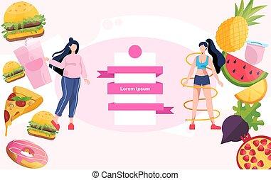 előrehalad, egészséges, weight., kövér, fogyaszt, concept., vesztes, nő