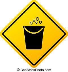 előrehalad, figyelmeztetés, takarítás, aláír