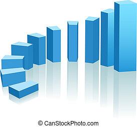 előrehalad, növekedés, körív, diagram, emelkedő