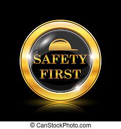először, biztonság, ikon