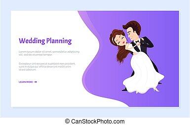 először, esküvő, lovász, menyasszony, tervezés, táncol