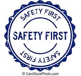 először, kerek, grunge, biztonság, kék, bélyeg, fóka, fehér, szó, gumi, háttér
