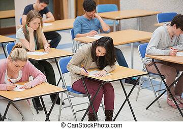 előszoba, diákok, vizsgálat, írás