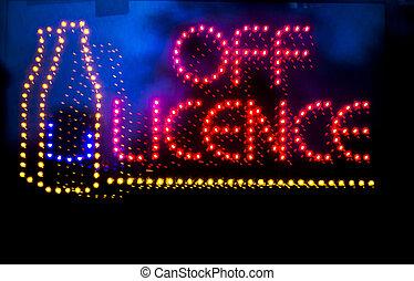el, fény, folyadék, neonreklám, engedély, bolt