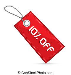 el, tíz, százalék, kiárusítás, diszkont, dolgozat, címke, címke, vonósok, piros