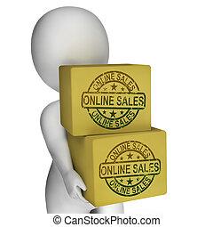 eladás, előadás, internet vásár, dobozok, online, vásárlás