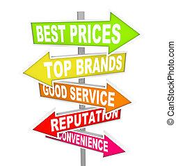 eladás, hirdetés, -, kitérővágány, nyíl, cégtábla, egyedülálló, bolt