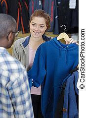 eladó, öltözet, ügyfél, profi, női, bolt