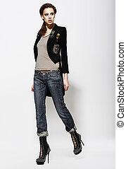 elbűvölő, nő, elegáns, boots., farmernadrág, mód, magas, népszerűség