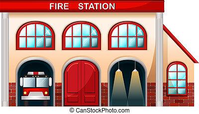 elbocsát, épület, állomás
