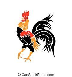 elbocsát, elszigetelt, ábra, kakas, stilizált, háttér., piros, év, fehér, rooster.