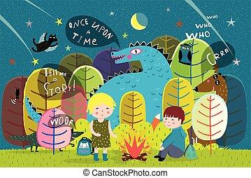 elbocsát, gyerekek, erdő, kempingezés, sárkány