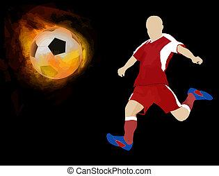 elbocsát, játékos, focilabda
