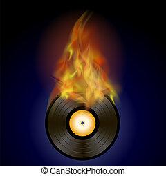 elbocsát, korong, láng, vinyl, égető