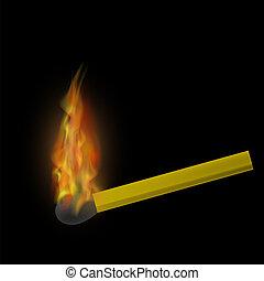 elbocsát, láng, égető, gyufa