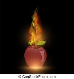 elbocsát, láng, alma, piros