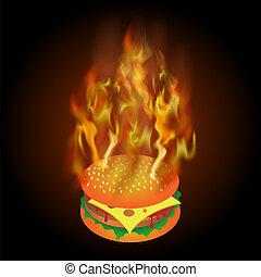 elbocsát, láng, hamburger, égető, friss