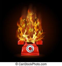 elbocsát, telefon, láng, piros, égető