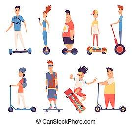 electric., ride., emberek, szállít, tervezés, lakás, jelentékeny, gyors, fiatal, pose., ábra, vektor, szolgáltatás, lakbér, lovaglás, eco, mód, elektromos, modern, álló, külső