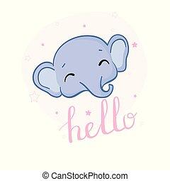 elefánt, csinos, kártya, csecsemő