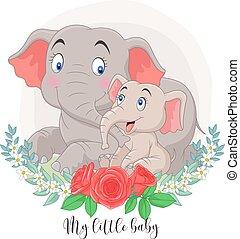 elefánt, háttér, anya, ülés, karikatúra, menstruáció, csecsemő