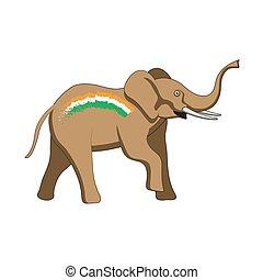 elefánt, kép, lobogó, elszigetelt, állat, fehér, háttér., vektor, india