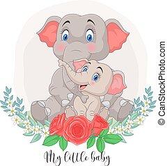 elefánt, menstruáció, háttér, anya, csecsemő, karikatúra, ülés