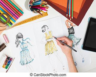 elegáns, alkotások, mód
