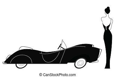 elegáns, autó, szüret, hölgy
