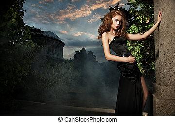 elegáns, nő, kert, szexi