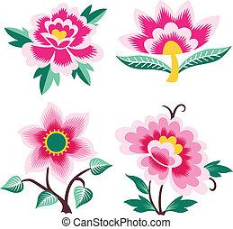 elegáns, virág, művészi, illustratio