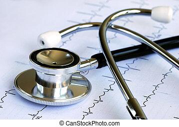 elektrokardiogramm, tető, sztetoszkóp, diagram